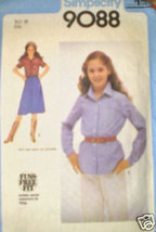 Vintage Simplicity Pattern Shirt Top 9088 10 SEWING SEW - $4.19