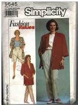 9645 Simplicity Vintage SEWING Pattern Misses Pants Shorts Loose Fitting Jacket - $6.99