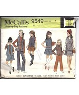 McCalls Vintage Sewing Pattern 1960's Girls Blouse Vest Pants Skirt 9549... - $4.90