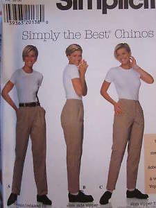 UNCUT Simplicity SEWING Pattern 7590 Misses Simply The Best Chinos Pants Trouser