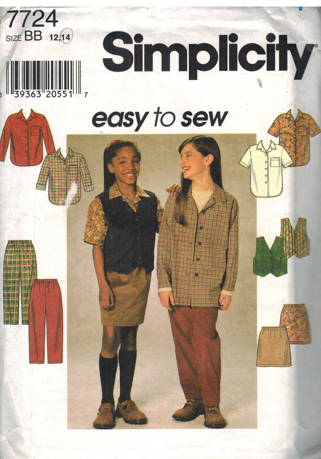 UNCUT Simplicity Sewing Pattern 7724 Girls Shirt Vest Pants Skirt Waistcoat OOP