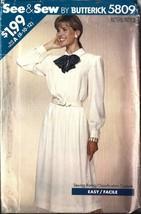 UNCUT Vintage Butterick Sewing Pattern Misses Pullover Dress 5809 8 - 12 OOP FF - $4.19
