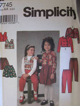 UNCUT Vintage Simplicity SEWING Pattern 7745 Girls Jacket Vest Skirt Pan... - $4.88
