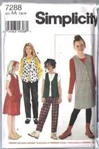 UNCUT Vintage Simplicity Sewing Pattern Girls Jumper Vest Knit Top Pants... - $4.19