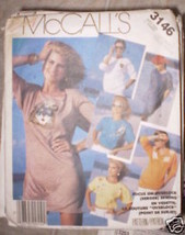 Vintage McCalls Pattern 1980s Tops 3146 Extra Small XS - $4.33