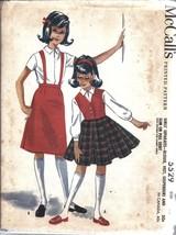 Vintage McCalls Sewing Pattern Girls 1960's Blouse Vest Suspenders Skirt... - $4.33