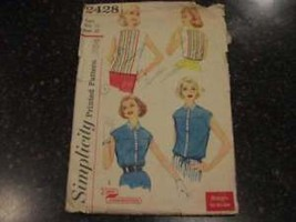 Vintage Simplicity Pattern Over Blouse 12 2428 1950's - $4.89