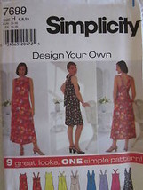 Vintage Simplicity Sewing Pattern 7699 Misses Easy Dress 6 22 Uncut Oop New Ff - $4.89