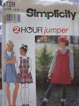 Vintage Simplicity SEWING Pattern 9728 Girl 2 HOUR Jumper Dress UNCUT OO... - $4.89