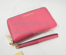 Michael Kors Leather Flat Multi-Function Phone Case Wallet/Wristlet in Rose Pink - $109.00