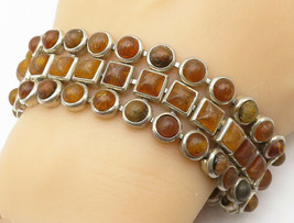 925 Sterling Silver - Vintage Cabochon Cut Amber 3 Row Chain Bracelet - ... - $152.59