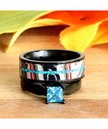 2 pc Blue Opal Fordite Wedding Rings Black Stainless Steel Band Engageme... - $99.99