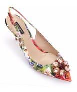 DOLCE & GABBANA Slingback Pump Floral Crystal Kitten Heel Textile Leathe... - $565.25
