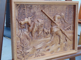 Bear   hunting  Wood  sculpture, baso relief - $99.00
