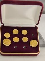 VINTAGE MEN'S GOLD EMBOSSED CREST DESIGN BUTTON SET IN ORIGINAL BOX - MI... - $10.00