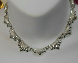 Vintage Signed Coro Silver-tone Textured Choker Necklace  - $21.77