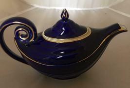 Vintage Hall Teapot Alladin Lamp Royal Blue Teapot #0663 - $29.00