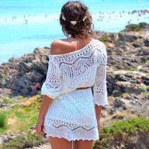 White Knitted Long Sleeve Lace Women Beach Cover Up - $23.34