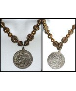 Vintage Brass Bead Necklace, Pendant Charm Coin Medallion, St George-Dragon - $40.00