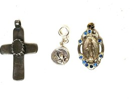 Religious Spiritual Necklace Pendant 3 Piece Set Cross Holy Mary Praying... - $14.98