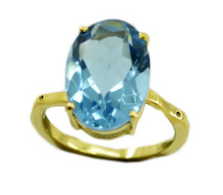 charming Blue topaz CZ Gold Plated Blue Ring Natural supply US gift - $9.99
