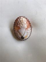 Antique Ostby & Barton 14K White Gold Diamond Cameo Habilee Brooch - $395.99