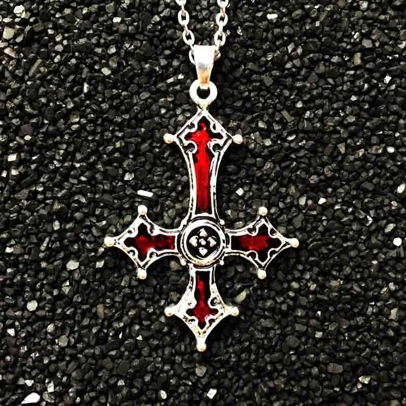 Erted cross pendant necklace vintage gothic cross pendant necklace lucifer satan satanic jewelry