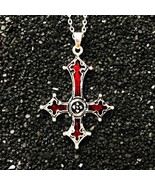 Red Bloody Inverted Cross Pendant Necklace Vintage Gothic cross pendant ... - $12.90