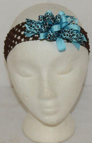 Unbranded Girl Infant Toddler Headband Removable Hair Bow Blue Giraffe Print