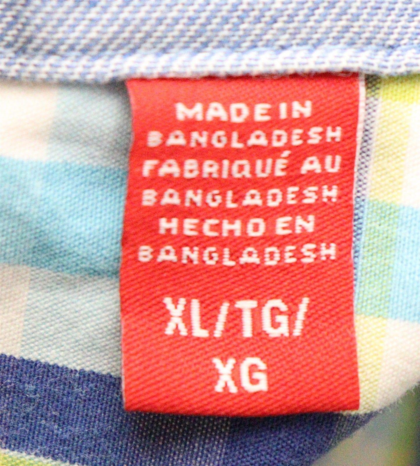 IZOD Mens Short Sleeve Check Print Shirt Blue Yellow White Size XL