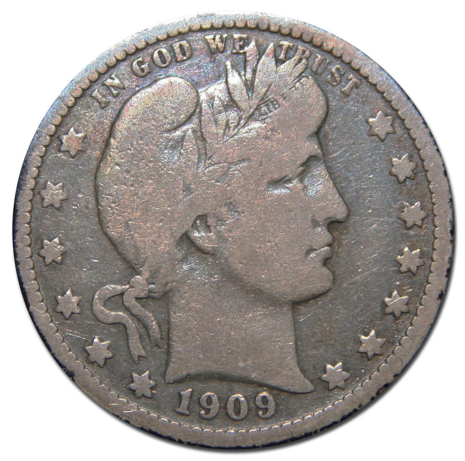 1909O Barber Quarter 25¢ Silver Liberty Head Coin Lot# MZ 3170