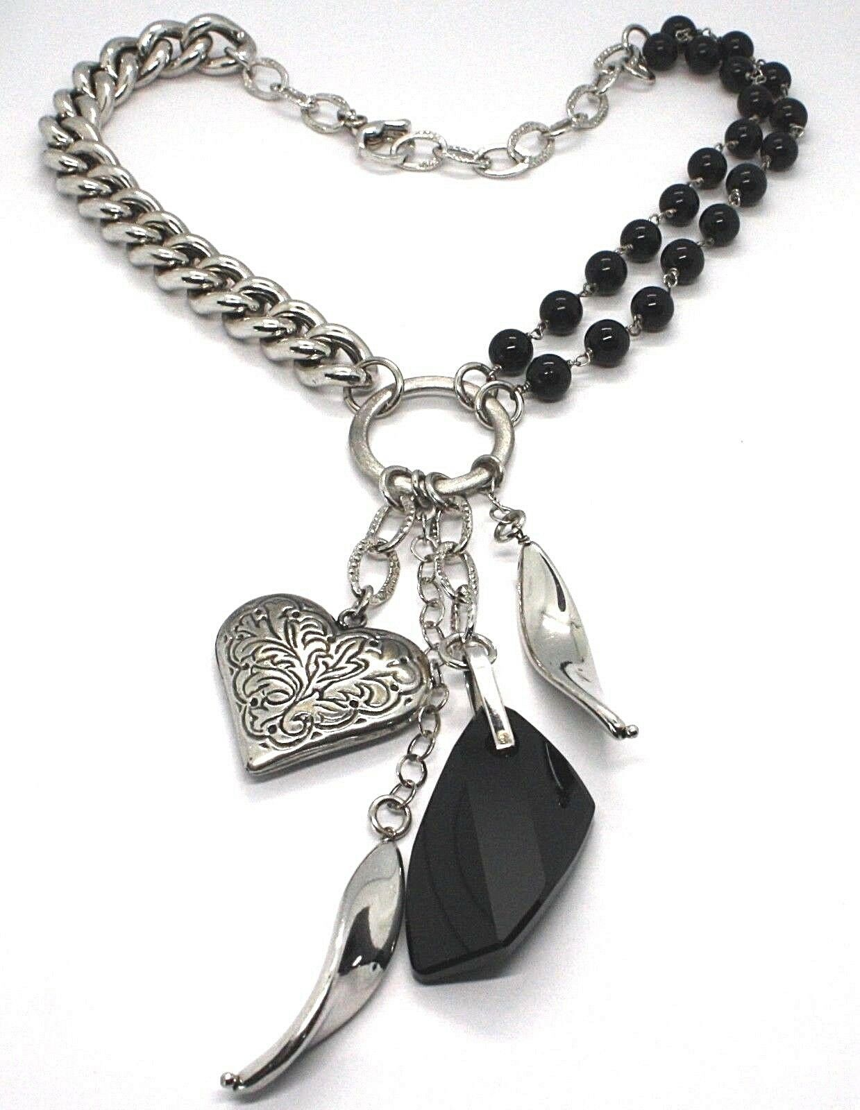 Necklace Silver 925, Double Row Onyx, Chain Curb , Heart Milled