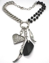 Necklace Silver 925, Double Row Onyx, Chain Curb , Heart Milled image 1