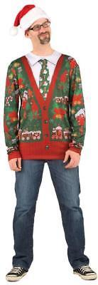 Ugly Christmas Sweater Santa Cardigan Mens Adult Costume Party FR115779