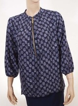 Michael Kors Womens Real Blue Leaf Front Zip 3/4 Sleeve Top Blouse Shirt 6 - $36.79