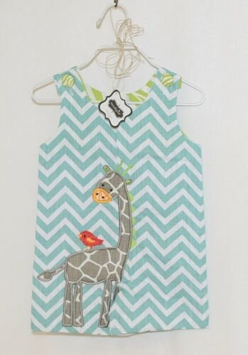 MudPie Giraffe Shortall Turquoise Lime Green Jumper 9 to 12 Months