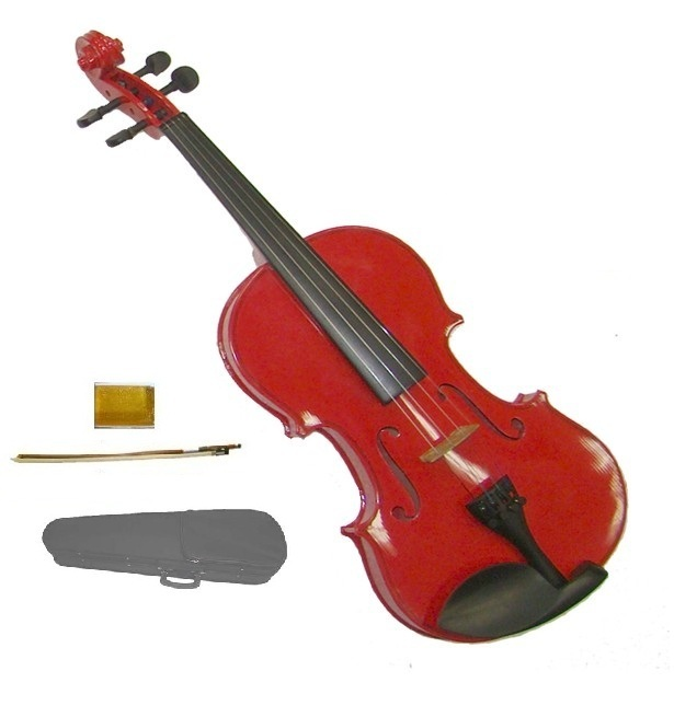 Lucky Gifts 1/16 Size Beginner, Student Violin with Case and Bow ~ Red