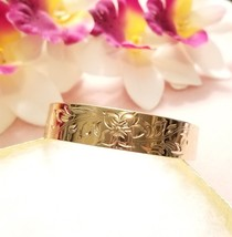 15mm Gold Floral Etched Hawaiian Bangle Bracelet - $50.00