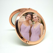 Rose Gold Handbag Mirror - personalised with your photo and text - $19.06