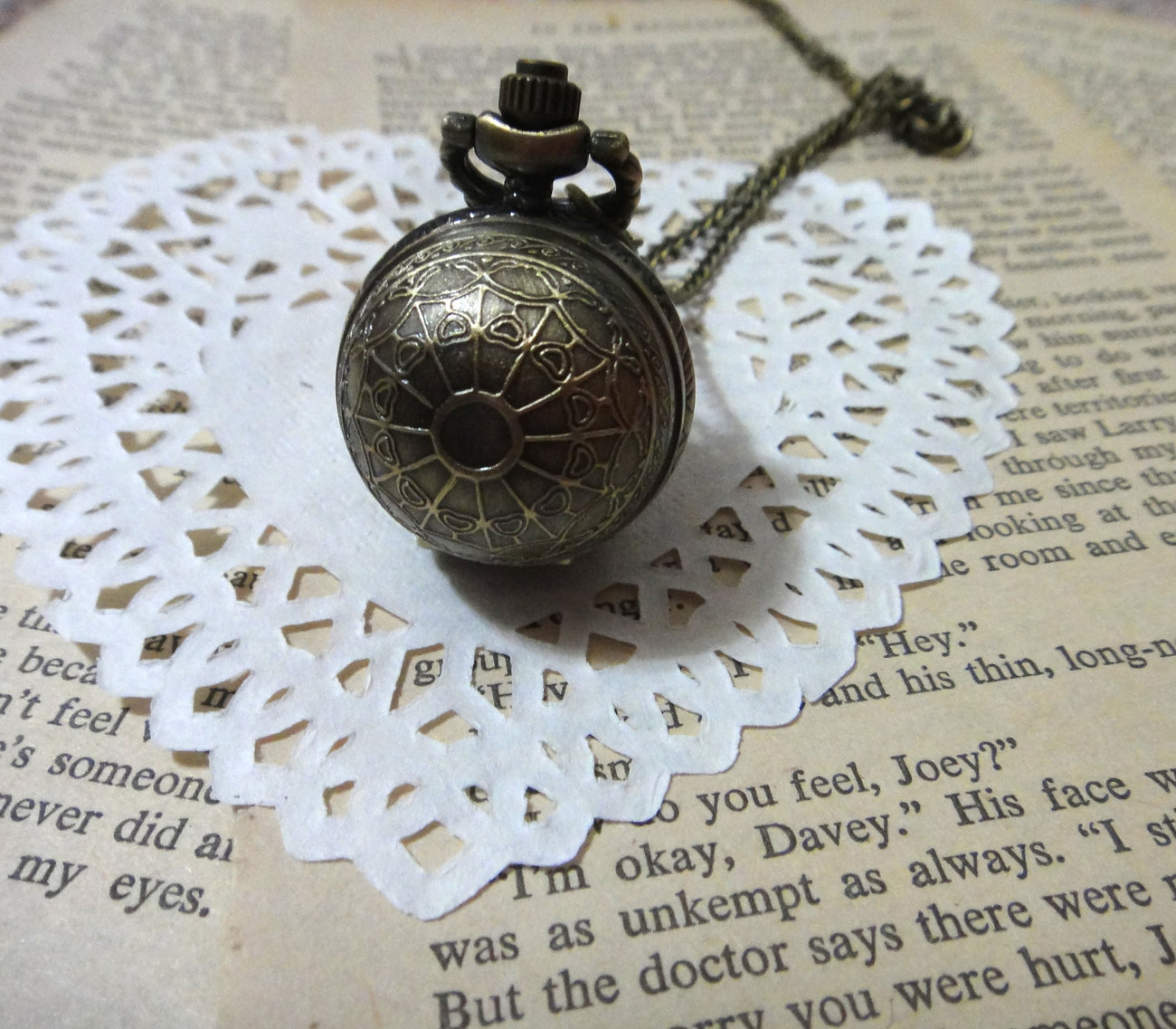 Black silver can open Irma Ball with spider web pattern pocket watch necklace pe - $6.89