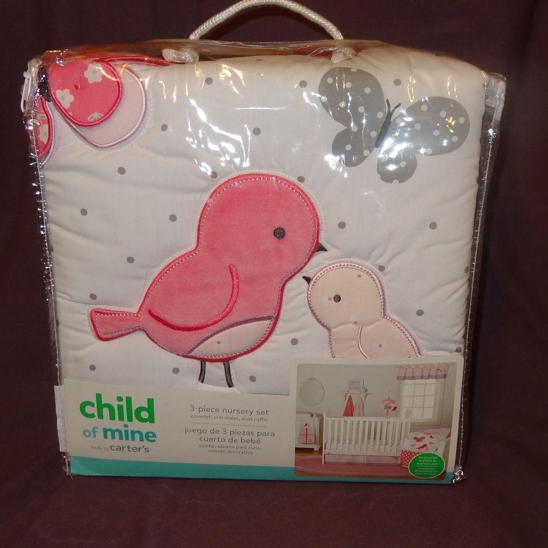 New Child of Mine Bird Butterfly 3-Piece Nursery Set Coverlet Crib Sheet Ruffle