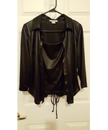 Black Shiny Leather Wet Look Lace Up Tank and B... - $14.50