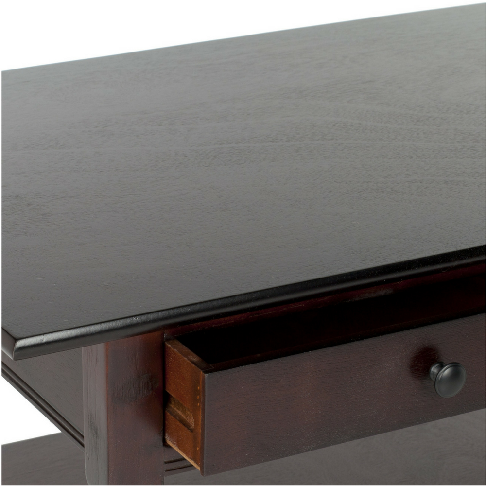 Coffee Table Wooden Distressed Storage Furniture Two Drawers Shelf Dark Cherry Tables