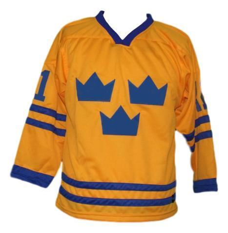 Daniel alfredsson  11 team sweden hockey jersey yellow   1