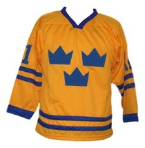 Daniel Alfredsson #11 Team Sweden Retro Hockey Jersey New Yellow Any Size image 1