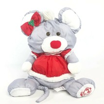1988 Fisher Price Puffalump Christmas Mouse Plush 8033 Girl Mrs Clause R... - $26.47