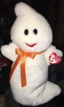 "TY Beanie Buddy Baby Plush White 12"" SPOOKY The Silly GHOST w/Bow Halloween - $11.87"