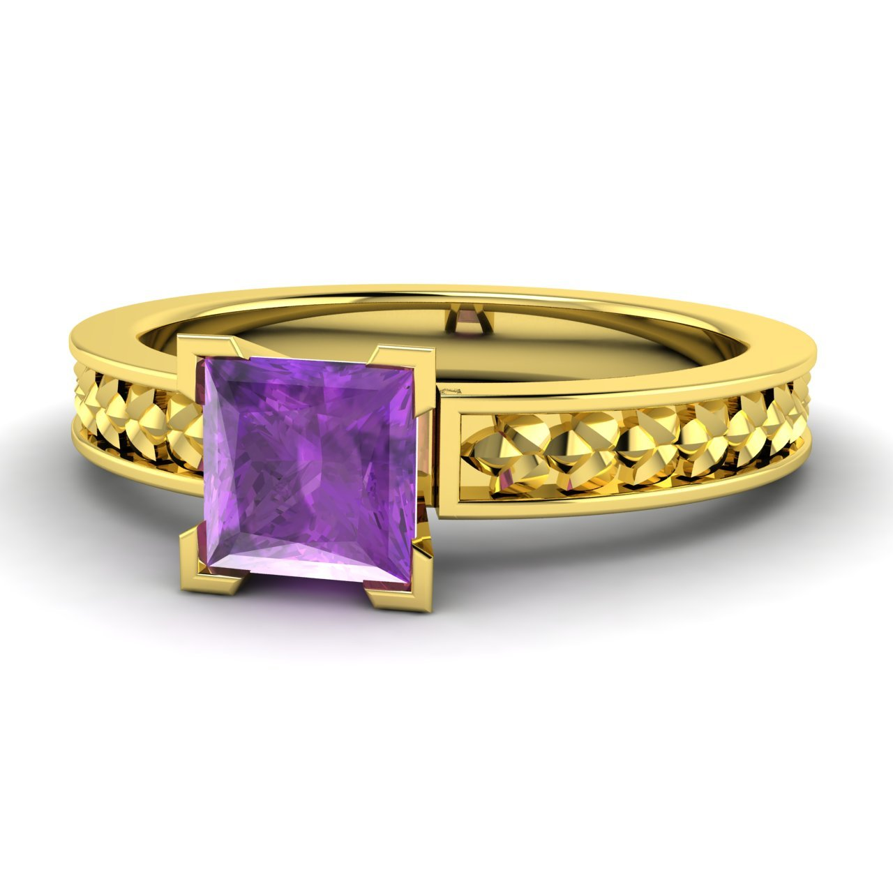 0 49 ct princess cut amethyst solitaire ring in