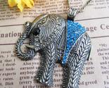 Blue crystal elephant necklace2 thumb155 crop