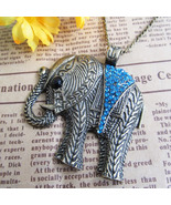 Lucky Blue Crystal Elephant Necklace - $7.99